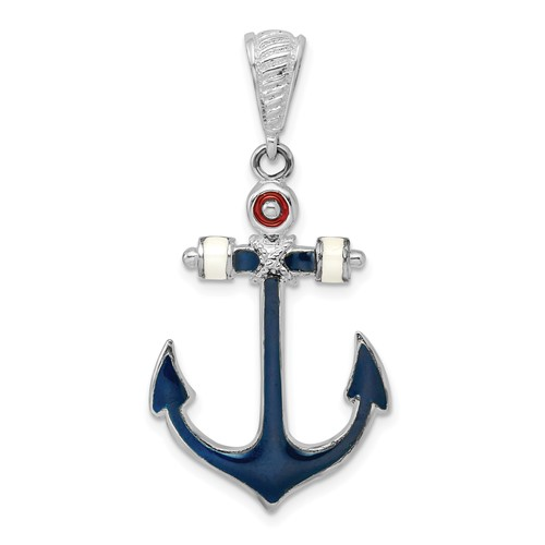 Sterling Silver Anchor Pendant with Blue Enamel Arms 1 1/4in