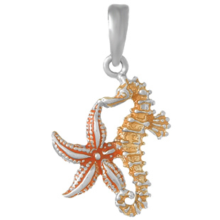 Sterling Silver 5/8in Starfish and Seahorse Pendant with Enamel