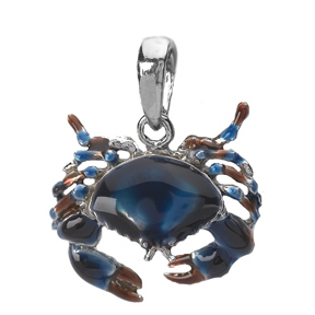 Sterling Silver 5/8in 3-D Blue Crab Pendant with Enamel
