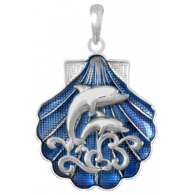 Sterling Silver 1in Dolphin Scene Shell Pendant with Enamel