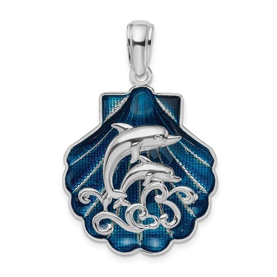Sterling Silver 1in Dolphin Scene Shell Pendant with Enamel
