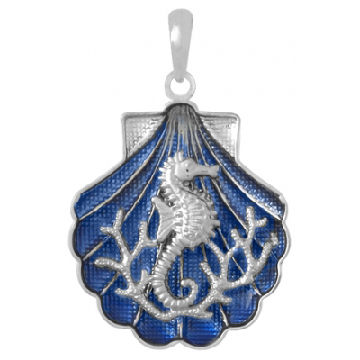 Sterling Silver 1in Seahorse Scene Shell Pendant with Enamel