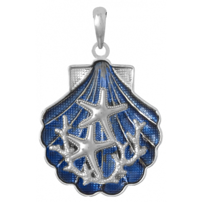 Sterling Silver 1in Starfish Scene Shell Pendant with Enamel
