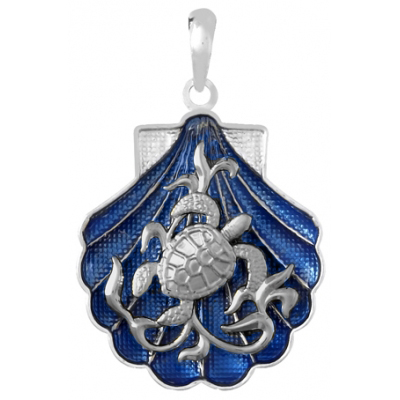 Sterling Silver 1in Sea Turtle Shell Pendant with Blue Enamel