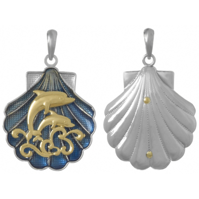 Sterling Silver 1in Shell Pendant with 14kt Gold Dolphin