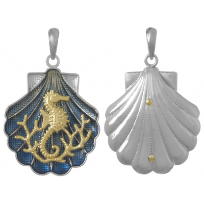 Sterling Silver 1in Shell Pendant with 14kt Gold Seahorse