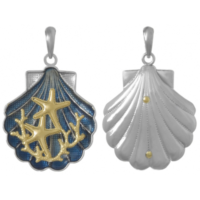 Sterling Silver 1in Blue Shell Pendant with 14kt Gold Starfish