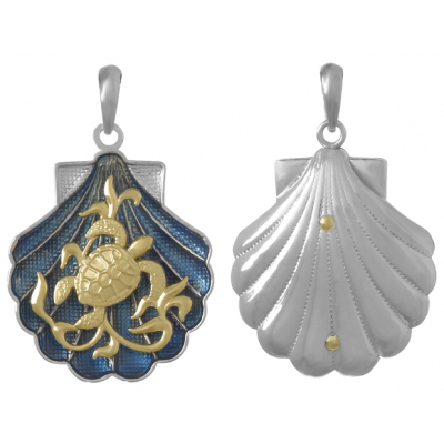 Sterling Silver 1in Blue Shell Pendant with 14kt Gold Turtle