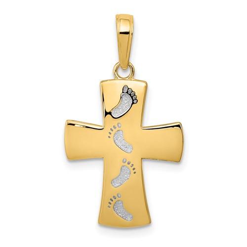14kt Yellow Gold 5/8in Footprint Cross Pendant