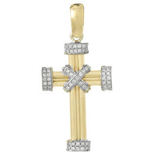 38mm 14kt Two-Tone Gold Diamond Accent Cross Pendant