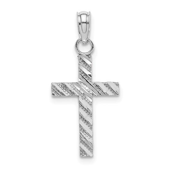21mm 14kt White Gold Textured Cross Pendant