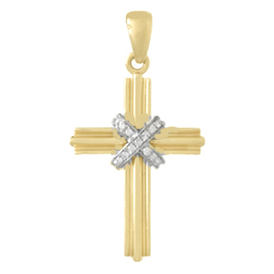 33mm 14kt Two-Tone Gold Cross Pendant with Diamond Accents