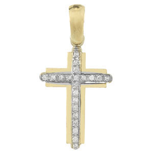 38mm 14kt Two-Tone Gold Cross Pendant with Diamond Center