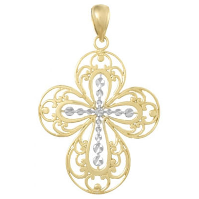 31mm 14kt Two-Tone Gold Cut-Out Filigree Cross Pendant