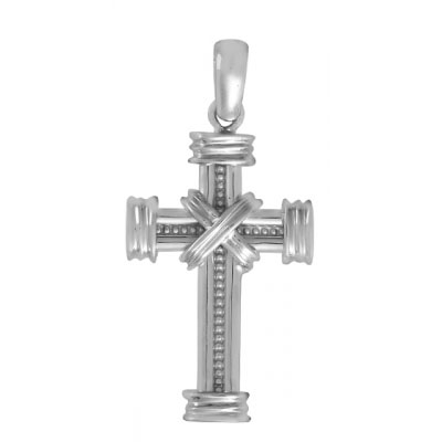14kt White Gold 1in Beaded and Wrapped Cross Pendant