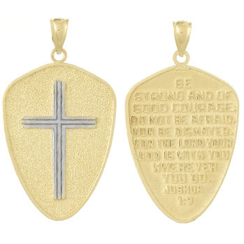 35mm 14kt Two-Tone Cross Shield Pendant Joshua 1:9