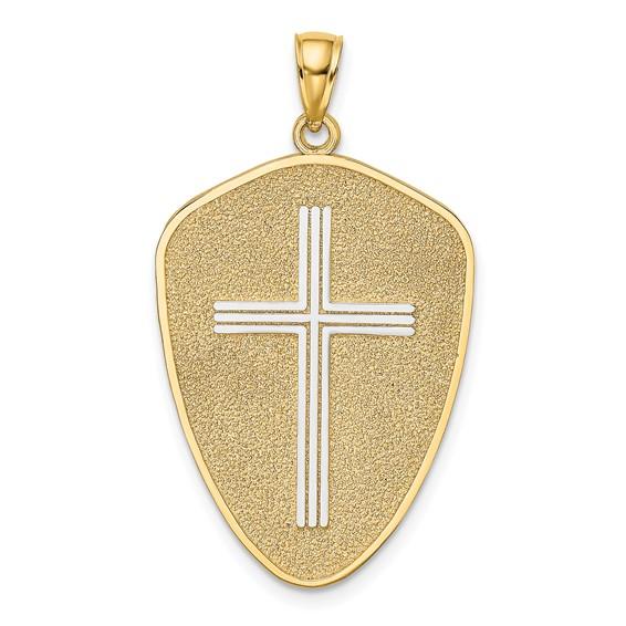 35mm 14kt Two-Tone Cross Shield Pendant Joshua 1:9