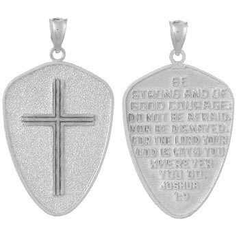 14kt White Gold 1in Cross Shield Pendant Joshua 1:9