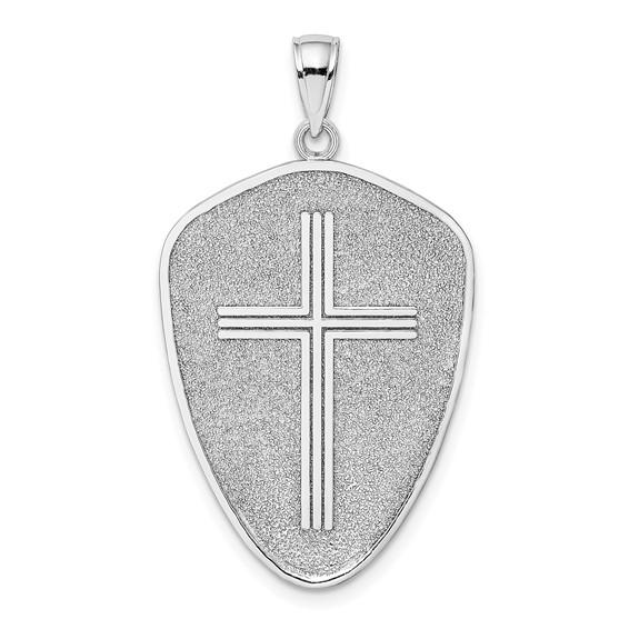 14kt White Gold 1in Cross Shield Pendant Joshua 1:9