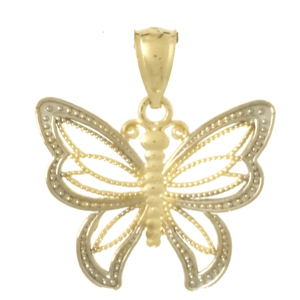 14kt Two-Tone Gold 3/4in Butterfly Pendant with Beaded Edges