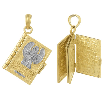 20mm 14kt Two-Color Gold Prayer Book Pendant