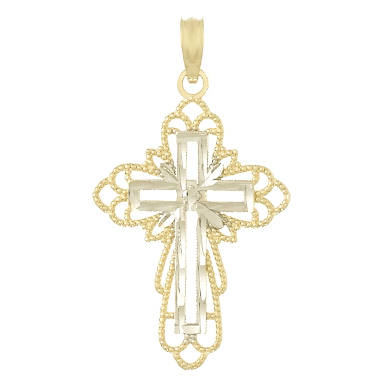 29mm 14kt Two-Color Gold Cut-Out Cross Pendant with Beaded Accents