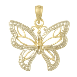 14kt Two-Tone Gold 20mm Beaded Butterfly Pendant