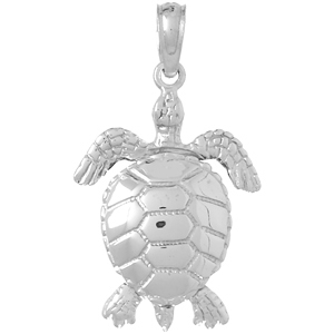 14kt White Gold 5/8in Moveable Sea Turtle Pendant