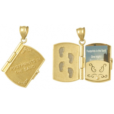 24mm 14kt Two-Color Gold Footprints in the Sand Book Pendant