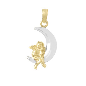 19mm 14kt Two-Color Angel Moon Pendant