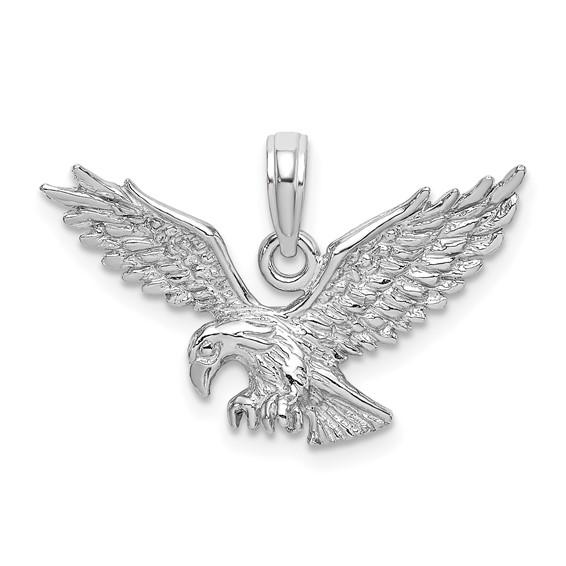 14kt White Gold 5/8in Eagle Flying Pendant