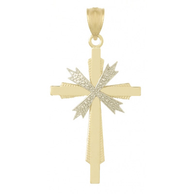 28mm 14kt Two-Color Beaded Accent Cross Pendant