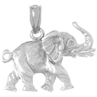 14kt White Gold 17mm 2-D Elephant Pendant