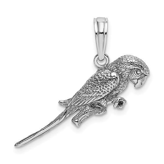 14kt White Gold 3-D Parrot Pendant