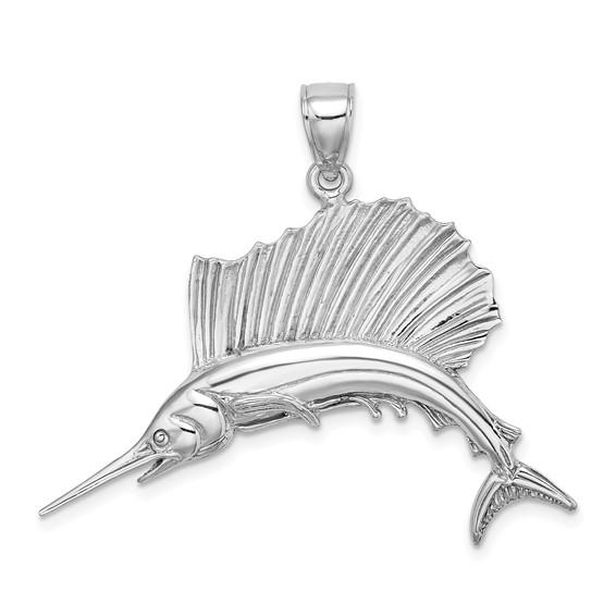 14kt White Gold 1in Sailfish Pendant