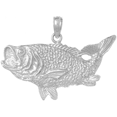 14kt White Gold 1in Bass Fish Pendant