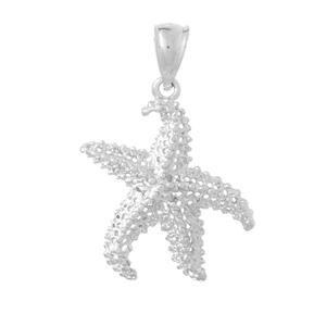 14kt White Gold 5/8in Lattice Starfish Pendant