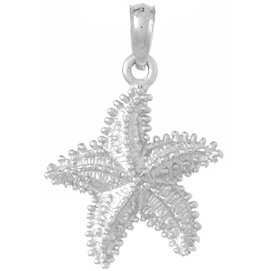 14kt White Gold 5/8in Textured Starfish Pendant