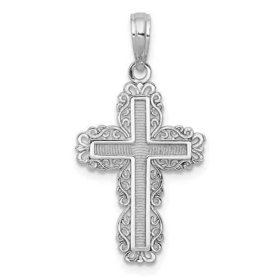 14kt White Gold Lace Cross Pendant