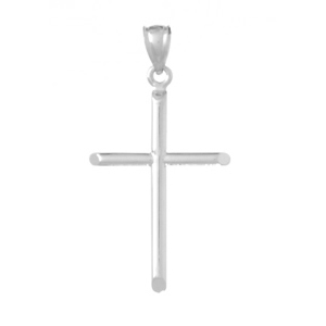14kt White Gold Cylindrical Cross Pendant