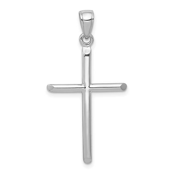 14kt White Gold Cylindrical Cross Pendant