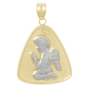 14k Two-tone Gold Angel Praying with Halo Pendant
