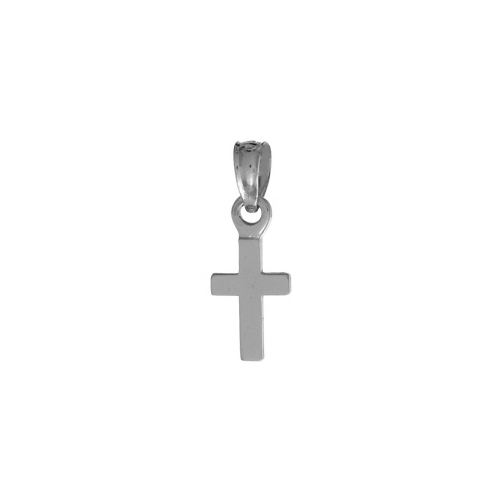 13mm 14kt White Gold Mini Cross Pendant