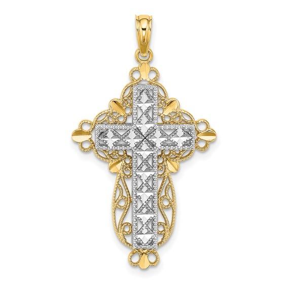 14k Two-Color Gold Filigree Block Cross Pendant 1in