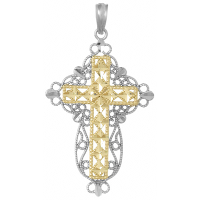 14k Yellow Gold Block Cross Pendant with White Gold Filigree 1in