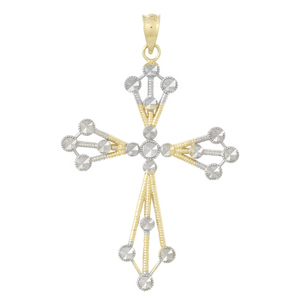 39mm 14kt Two-Color Gold Beaded Cut-Out Cross Pendant