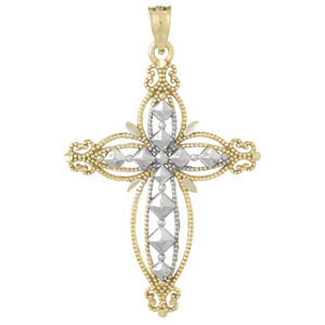 35mm 14kt Two-Color Gold Beaded Cross Pendant