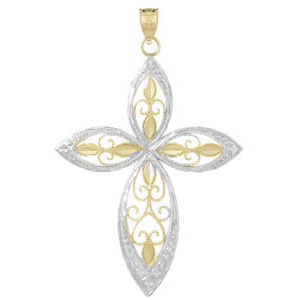 42mm 14kt Two-Color Gold Figure Eight Cross Pendant