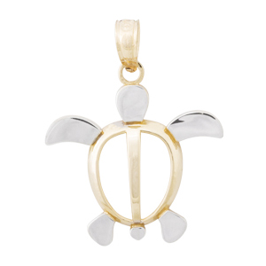 14kt Two-Tone Gold 21mm Sea Turtle Pendant