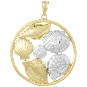 14kt Two-Tone Gold 1 1/4in Shell Cluster Pendant